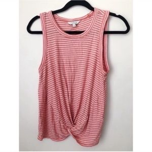 Lucky Brand Red Striped Front Knot Tank Top Small